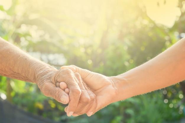 Main, vieux et main avec la lumière du matin