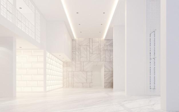 Mainhall double espace intérieur style sino-portugais avec sol en marbre rendu 3d