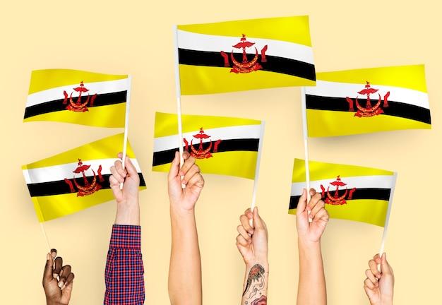 Mains agitant des drapeaux du brunei