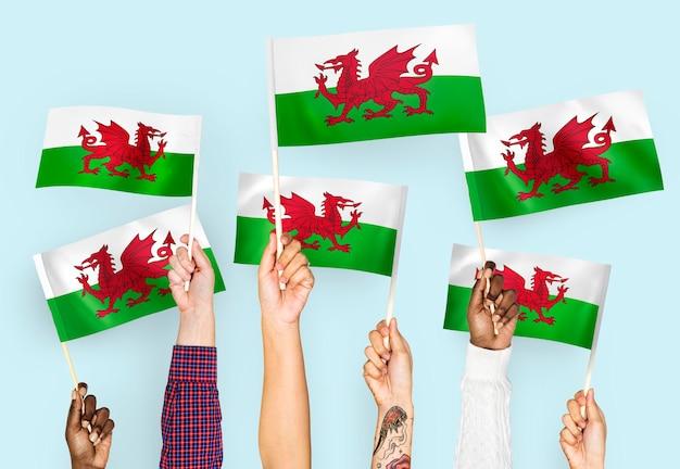 Mains agitant des drapeaux du pays de galles