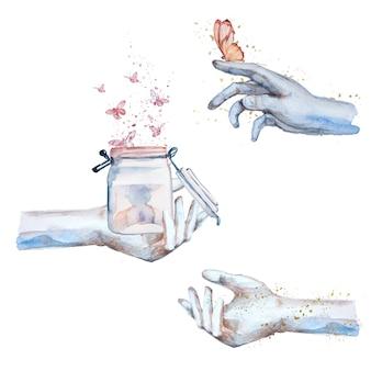 Mains aquarelles faisant illustration magique. ensemble de clipart concept fantastique. mains de sorcier.