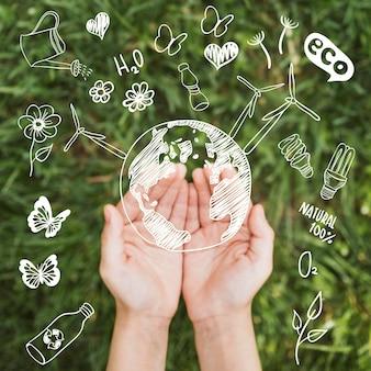 Mains avec concept d'environnement