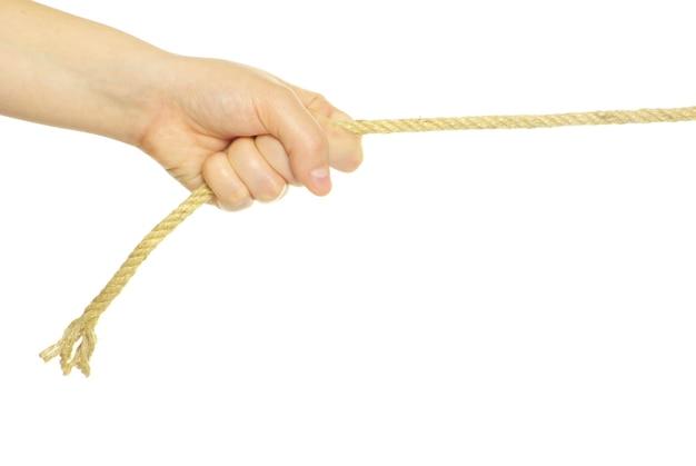 Mains et corde isolés sur fond blanc
