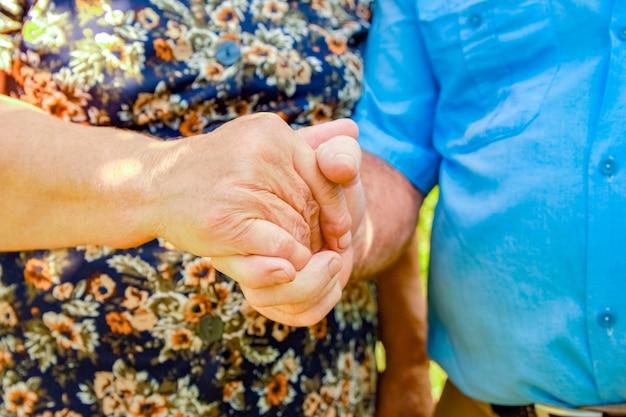 Mains d'un couple heureux d'âge moyen sur la nature