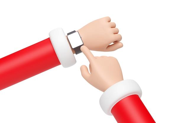 Mains de dessin animé du père noël portant une montre-bracelet avec écran blanc. notion de noël.