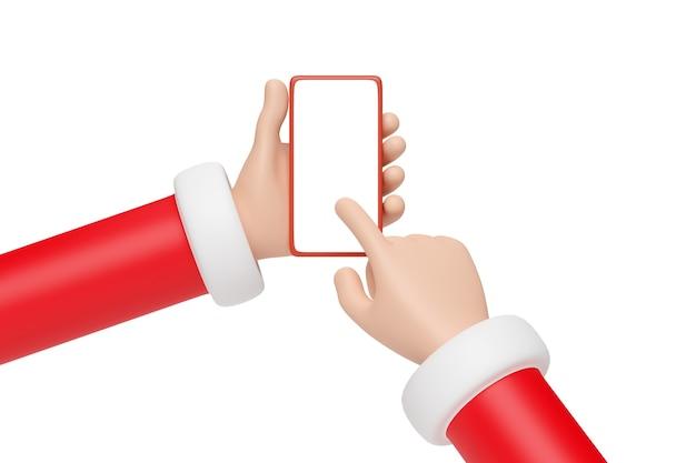 Mains de dessin animé du père noël tenant un téléphone portable avec écran blanc. notion de noël. illustration 3d.