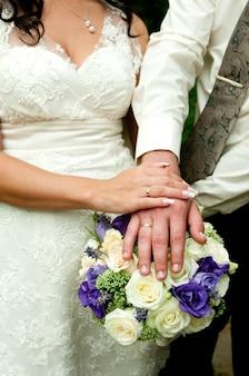 Les mains du marié et de la mariée avec des anneaux en gros plan