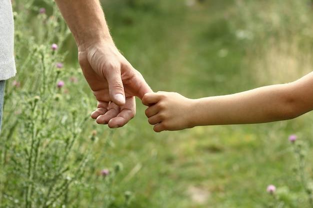 Mains du parent et de l'enfant dans la nature