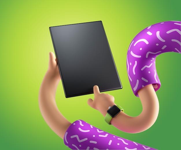 Les mains élastiques de dessin animé de rendu 3d tiennent le pavé numérique isolé sur fond vert clair