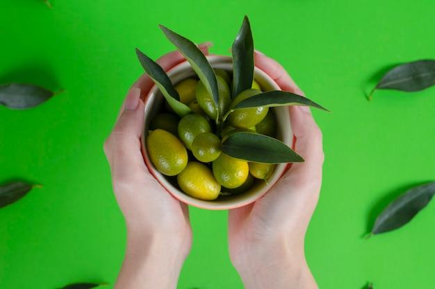 Mains féminines tenant un bol plein de cumquats verts frais avec des feuilles.