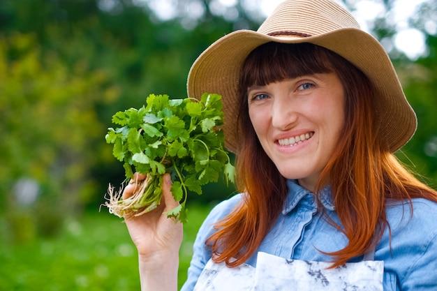 Mains féminines tenant des feuilles de basilic
