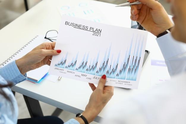 Des mains féminines tiennent le plan d'affaires 2021 à côté de son collègue
