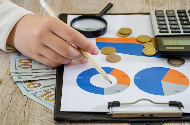 Mains d'une femme d'affaires sur l'arrière-plan des cartes d'affaires le concept d'analyse des risques plann