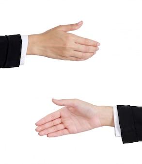 Mains de femme d'affaires donnant un coup de main pour la poignée de main avant et arrière isolé sur blanc