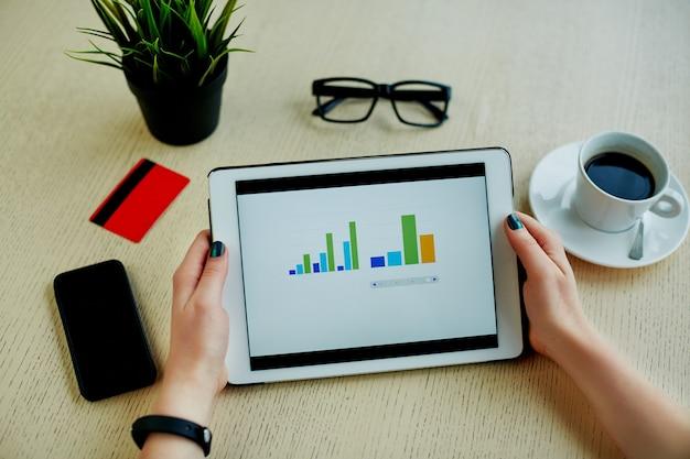 Mains de femme avec manucure sombre tenant la tablette avec histogrammes, carte de crédit, lunettes, téléphone portable et tasse de café sur la table, concept indépendant, achats en ligne, pose à plat.