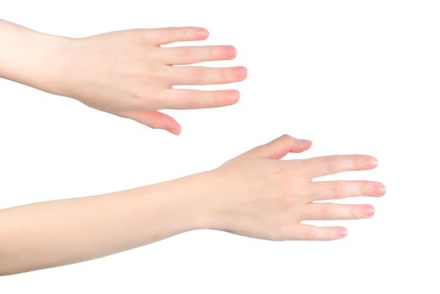 Mains de femme voulant ou demandant quelque chose, copyspace.