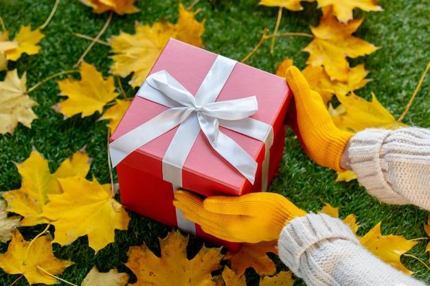Les mains des femmes dans les mitaines tiennent un gros cadeau rouge sur l'herbe verte avec des feuilles d'érable