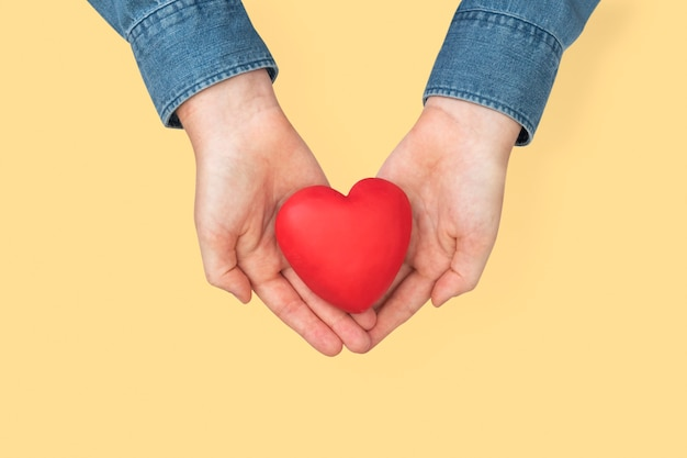 Mains en forme de coeur dans le concept d'amour et de relation