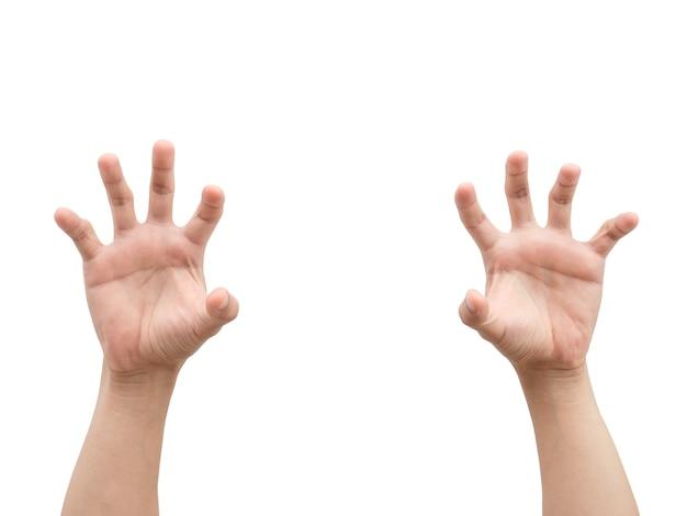 Les mains de l'homme ouvrent le doigt fond isolé blanc