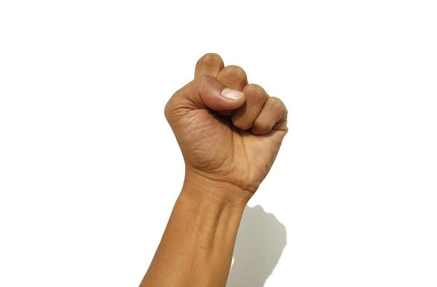 Les mains d'un homme se serrant avec un symbole d'esprit sur fond blanc
