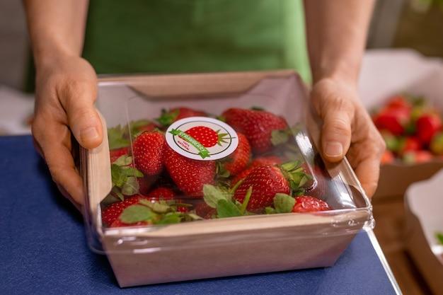 Mains d'un jeune ingénieur agronome tenant un conteneur avec des fraises mûres fraîches tout en le mettant sur des balances après les avoir emballées pour la vente