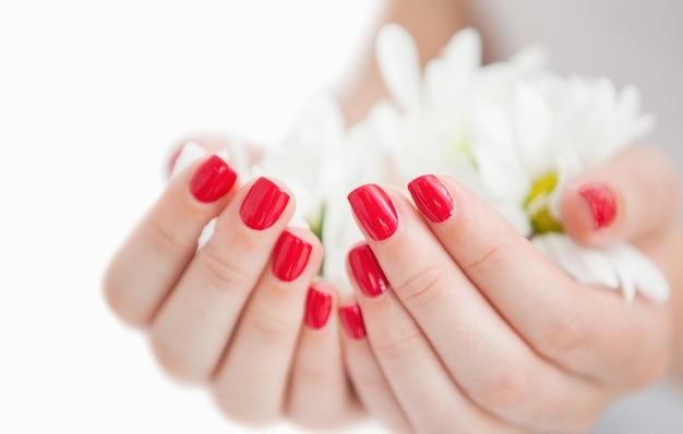 Mains manucurées tenant des fleurs