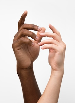 Mains multiraciales réunies