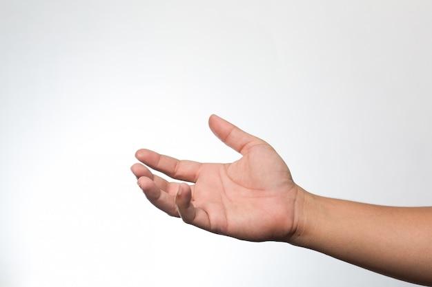 Mains sur le mur blanc