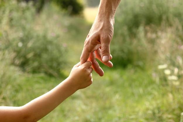 Mains de parent et d'enfant dans la nature