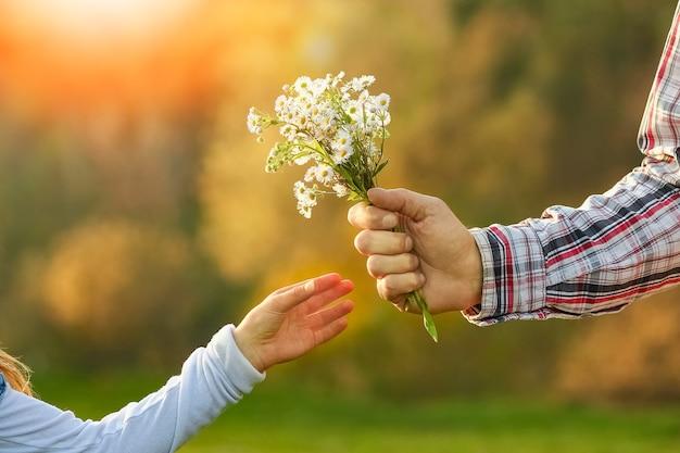 Mains de parent et enfant avec des fleurs dans le parc