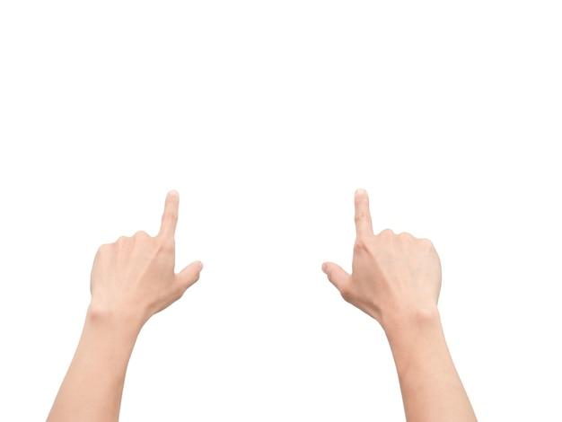 Les mains pointent du doigt l'écran tactile blanc isolé