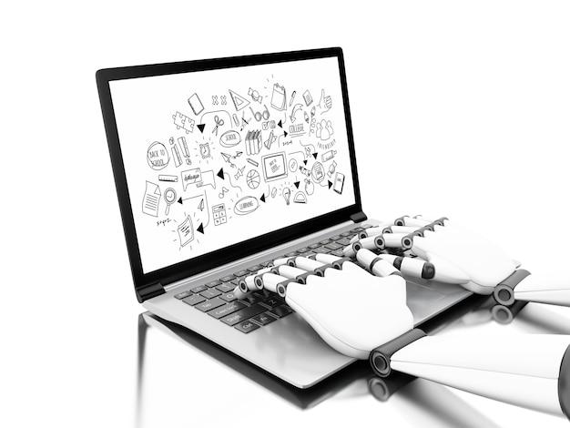 Mains robotiques tapant sur un ordinateur portable avec croquis de l'éducation