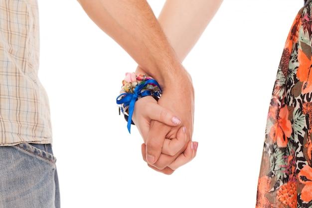 Mains, de, romantique, caucasien, couple