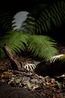 Mains squelettiques au sol dans un cimetière