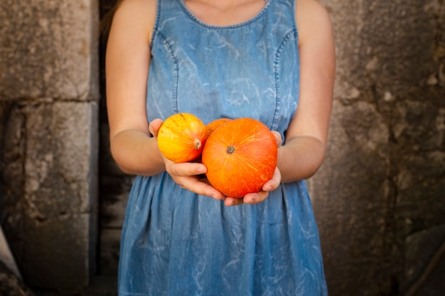 Mains tenant de délicieuses petites citrouilles