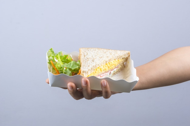Mains tenant un délicieux sandwich avec du pain de grains entiers, une omelette, du jambon et des légumes