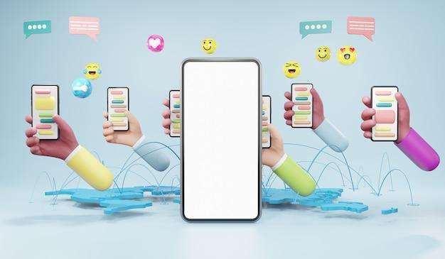 Mains tenant un smartphone. marketing des médias, concept de médias sociaux, illustration 3d