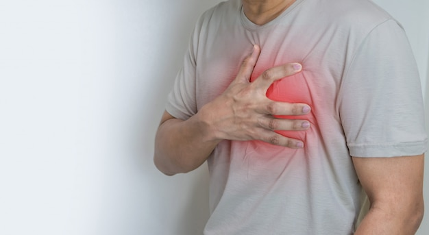 Mains, tenue, poitrine, symptôme, crise cardiaque, maladie