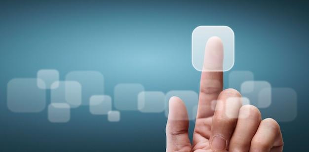 Mains touchant le bouton de l'interface de l'écran connexion globale des échanges de données de réseautage client