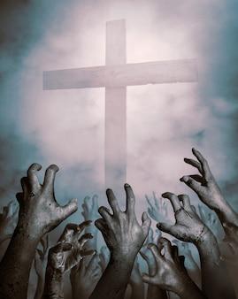 Mains de zombie se levant dans la nuit sombre d'halloween. fond d'halloween