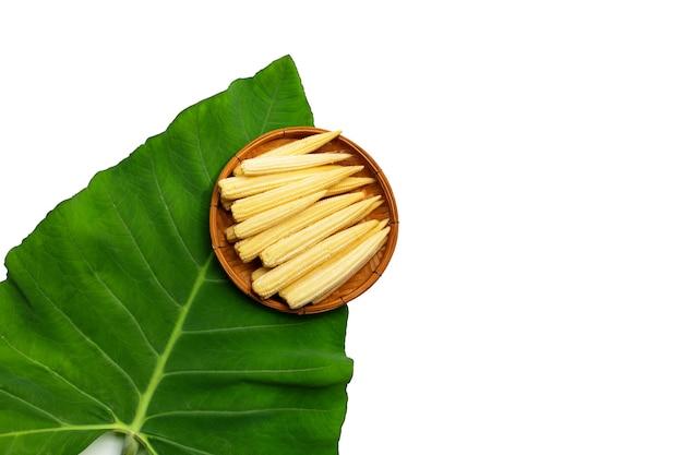 Maïs de bébé dans le panier en bambou sur la feuille de taro sur le fond blanc