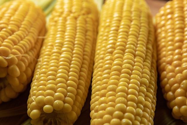 Maïs bouilli sur des feuilles de maïs, avec une faible profondeur de champ