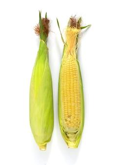 Maïs doux frais sur fond blanc.