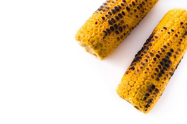 Maïs doux grillé isolé vue de dessus copie espace