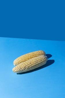 Maïs jaune sur fond bleu pastel. concept minimaliste dans un style isométrique. minimalisme