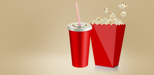 Maïs soufflé salé isolé sur blanc, boîte en carton de tasse rouge de rendu 3d