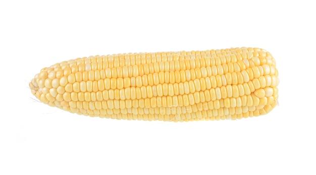 Maïs sucré isolé sur fond blanc
