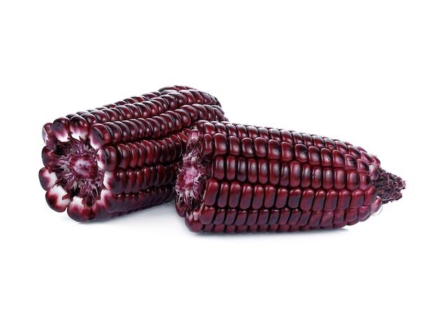 Maïs violet isolé sur fond blanc