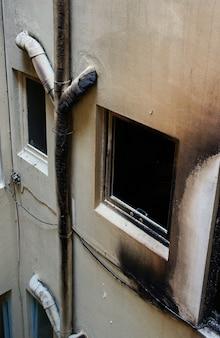 Maison abandonnée après un grand incendie