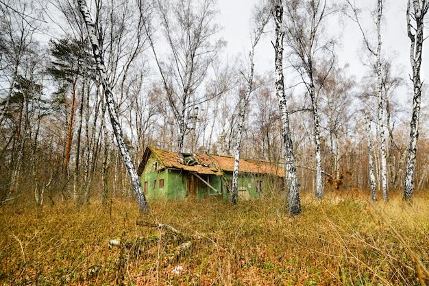 Maison abandonnée dans une forêt d'automne